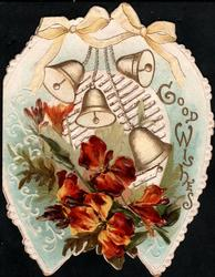 GOOD WISHES right, bronze wallflowers below four bells in front of perforated design  all within light blue horseshoe