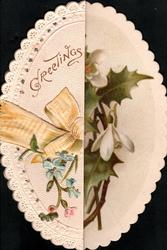 GREETINGS  & yellow ribbon on left flap of oval card, blue forget-me-nots  holly & snowdrops behind