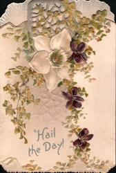 HAIL THE DAY! in silver, single clematis, 3 violets & ginkgo leaves on both flaps,perforated design