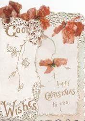 GOOD WISHES in gilt on left flap, red poppies above HAPPY CHRISTMAS TO YOU in gilt, rural scene behind left flap