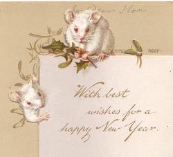 WITH BEST WISHES FOR A HAPPY NEW YEAR two white mice, one holding holly, perch on edge of card