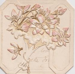no front title, bunch of stylised white/pink apple blossom cut out from left flap,