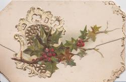 no front title, spray of  holly on top flap in front of perforated  window , mistletoe on lower flap