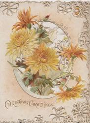 CHRISTMAS GREETING below yellow chrysanthemums on heavily perforated front