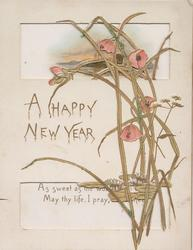 A HAPPY NEW YEAR left, pink poppies right & above, two large perforations, water lilies below