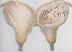 BLUE ON GREY die-cut, lily shaped,  rural scenes & flowers