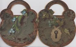A KEY TO NATURE'S LOCK, shaped as padlock, OUR HOMESTEAD,  flowers,scenes & text