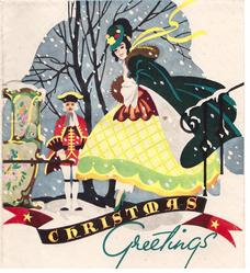 CHRISTMAS GREETINGS woman wearing large bell-like skirt approaches carriage, coachman behind
