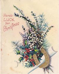 HERE'S LUCK FOR CHRISTMAS white heather, holly & a gilt horseshoe