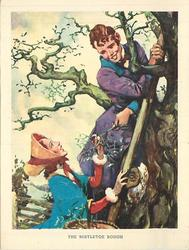 THE MISTLETOE BOUGH boys climbs tree and hands mistletoe bough to lady standing below
