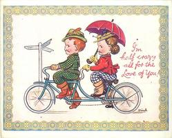 I'M HALF CRAZY ALL FOR THE LOVE OF YOU boy and girl ride left on a 'bicycle built for two'