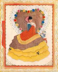 SWEET VALENTINE orange border & bow, lady in gigantic skirt faces right, looks forward, hands in muff below chin