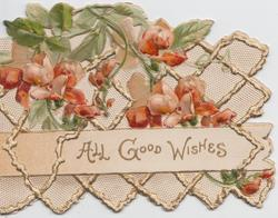 ALL GOOD WISHES in gilt on inset below red azaleas & trellis design