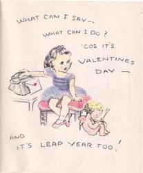 WHAT CAN I SAY- WHAT CAN I DO? COS IT'S VALENTINES DAY AND IT'S LEAP YEAR TOO! girl sits by telephone, cupid by her feet