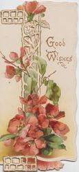 GOOD WISHES in gilt front right, red azaleas below & in front of perforated white & gilt design