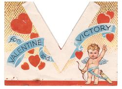 V FOR VALENTINE AND VICTORY on blue banner, cupid lower right with left arm raised