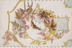 no front title, virginia creeper leaves & butterfly in central inset, wild roses right, oak leaves & gilt design around