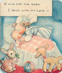 A KISS FOR THE BABY I SEND WITH MY LOVE - young girl kisses baby sleeping in bassinet, bunny and lamb front