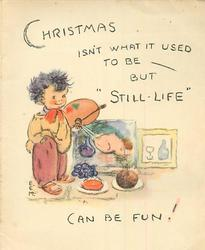 "CHRISTMAS ISN'T WHAT IT USED TO BE- BUT ""STILL- LIFE"" CAN BE FUN! young boy dressed as painter"