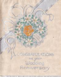 GOOD WISHES on floral wreath CONGRATULATIONS ON YOUR WEDDING ANNIVERSARY below