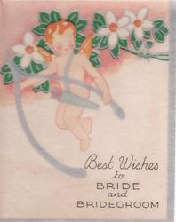 BEST WISHES TO BRIDE AND BRIDEGROOM angel with orange hair and wings holds wishbone, flowers behind
