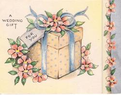 A WEDDING GIFT FOR YOU gift surrounded by pink flowers, pink floral on  silver border right