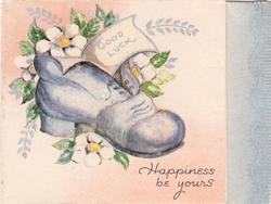 GOOD LUCK HAPPINESS BE YOURS blue shoe with white flowers, blue panel right