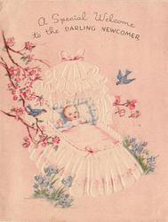 A SPECIAL WELCOME TO THE DARLING NEWCOMER baby in large white bassinet, blossom tree left, two blue birds and blue flowers