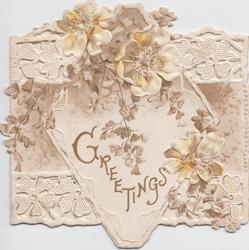 GREETINGS in gilt below passion flowers & ginkgo leaves on heavily perforated designed front