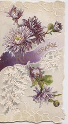 REMEMBRANCE in gilt on purple design, purple chrysanthemums above & below on perforated front, embossed white background