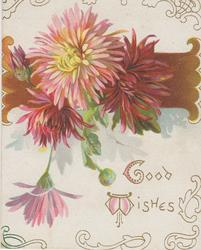 GOOD WISHES in gilt, pink & red chrysanthemums in front of horizintal brown design