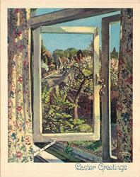 EASTER GREETINGS view of budding trees & rural town from open window, floral curtains