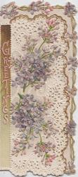 GREETINGS vertically left, lilac on heavily perforated cut out front, lilac design on adherant right & top margins