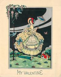 MY VALENTINE inset night scene of woman standing on grassy knoll, holding up parasol