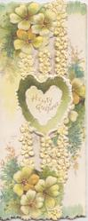 HEARTY GREETINGS in gilt on elaborate vertical perforated design, yellow primroses  top & bottom, embossed