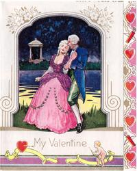 MY VALENTINE woman in elaborate pink gown & gentleman hold hands, pond behind, cupid below right