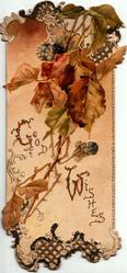 GOOD WISHES (G & W illuminated) in gilt below blackberries, perforated front
