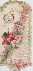 BEST WISHES ( illuminated W),pink & red azaleas on perforated left flap, evergreen margins