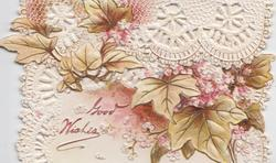 GOOD WISHES in red, below left, pink hydrangeas with yellowish leaves on much perforated top & bottom flaps