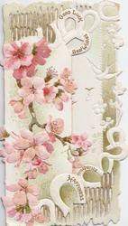 GOOD LUCK, BEST WISHES, PROSPERITY, HAPPINESS in white horseshoes, cherry blossom left & below inside