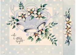 A LITTLE GIFT three silver bells, white flowers & greenery