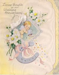 LOVING THOUGHTS ON OUR WEDDING ANNIVERSARY angel in perforated window, white flowers, horseshoe & white applique ribbon
