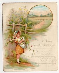 A VERY HAPPY CHRISTMAS TO YOU child carries basket of flowers,