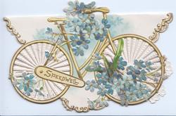 SPEEDWELL in gilt & yellow inset, forget-me-nots around & in front of yellow bicycle on perforated front, embossed