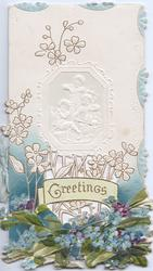 GREETINGS in gilt in green inset above  forget-me-nots below embossed inset ofangeL  musicians with  stylised floral design