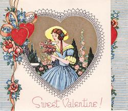 SWEET VALENTINE! woman in yellow hat smells roses, striped blue & white edges, two red hearts, ribbon, pink roses & blue flowers left
