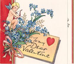 TO MY DEAR VALENTINE inset right, cupid takes aim above bunch of forget-me-nots