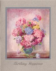 BIRTHDAY HAPPINESS pink & blue hydrangeas in blue vase, pink background, thin blue border