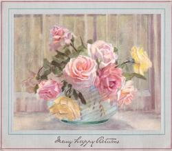 MANY HAPPY RETURNS opt. in gilt, yellow & light pink roses in glass vase, border accented with thin green & pink line