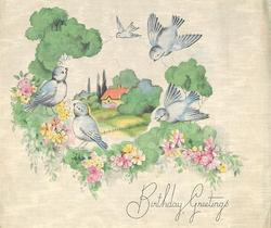 BIRTHDAY GREETINGS rural inset surrounded by blue birds, flowers & trees